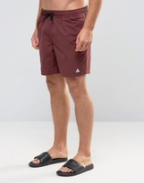 Asos Swim Shorts In Burgundy With Triangle Logo Print Mid Length