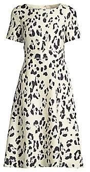 Lafayette 148 New York Women's Amanda Print Silk Short-Sleeve Flare Dress