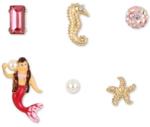 Betsey Johnson Gold-Tone 6-Pc. Set Crystal & Imitation Pearl Mermaid Mismatch Stud Earrings