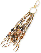 Nakamol Crystal & Leather Fringe Key Chain, Gold