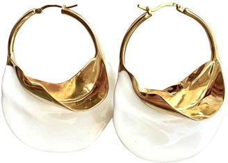 Celine Swirl White Metal Earrings