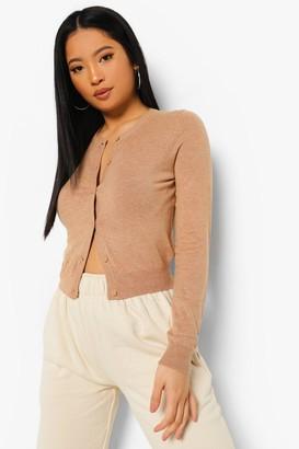 boohoo Petite Soft Knit Crop Cardigan