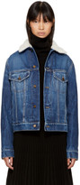 Saint Laurent Blue Denim Shearling Patch Jacket