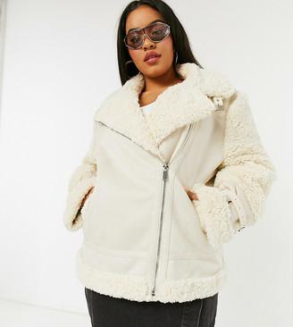 Urban Bliss Plus faux sherling aviator jacket in cream