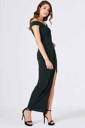 Girls On Film Pose Foldover Bardot Maxi Dress