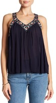 Cupcakes And Cashmere Hush V-Neck Embroiderd Trim Tank Top