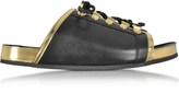 Balmain Tao Black and Gold Metallic Leather Flat Slide