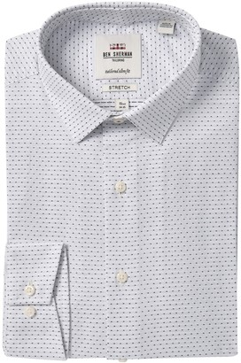 Ben Sherman Dobby Patterned Tailored Slim Fit Dress Shirt