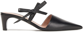 Oscar de la Renta Bow-embellished Leather Mules