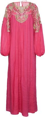 Alberta Ferretti Ramie Gown With Woven Chest