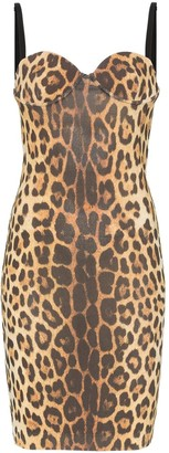 Moschino leopard print sleeveless bustier dress