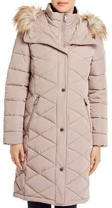 Calvin Klein Diamond-Quilted Faux Fur-Trim Puffer Coat