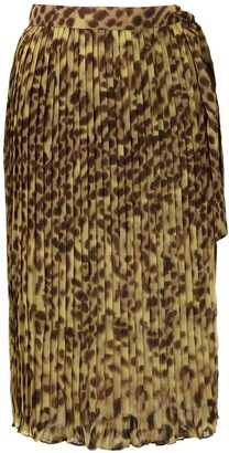 Adriana Degreas Leopard Print Pleated Sarong