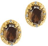 Gem Stone King 1.58 Ct Oval Brown Smoky Quartz and White Topaz 18k Yellow Gold Earrings