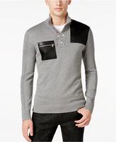 INC International Concepts Men's Faux Leather Trim Snap Sweater, Only at Macy's