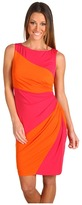 Muse Color Block Side Ruched Dress (Rosette/Tangerine) - Apparel
