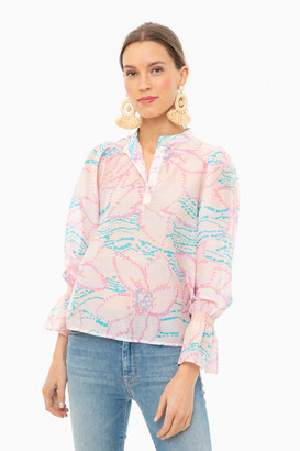 Warm Peach Floral Francesca Blouse