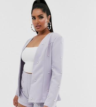 New Age Rebel Plus embellished blazer and short set-White