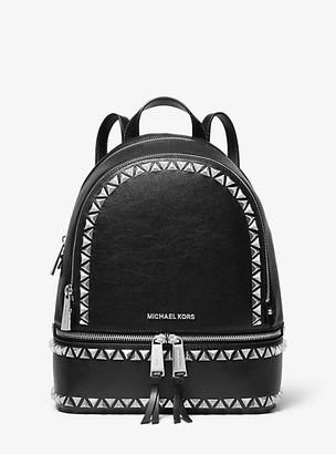 Michael Kors Rhea Medium Studded Pebbled Leather Backpack