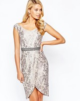 Little Mistress Bardot Pencil Dress in Metallic Lace with Wrap Skirt and Embellished Waist Detail