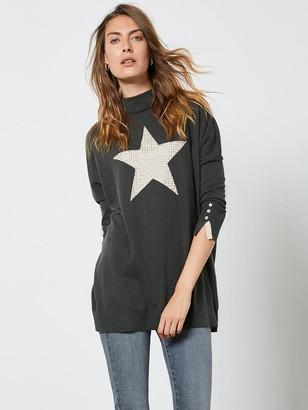 Mint Velvet Star Front Stud Tunic - Khaki