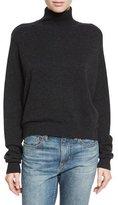 Vince Cashmere Drop-Shoulder Turtleneck Sweater, Heather Charcoal