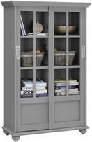 Design Studio A Ashton Oaks Bookcase With Sliding Glass Doors, Soft Gray
