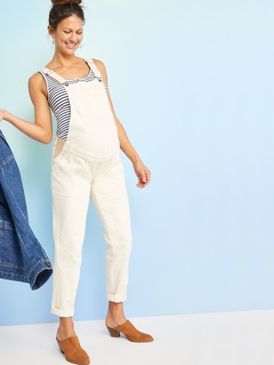 Old Navy Maternity Ecru-Wash Side-Panel Workwear Overalls