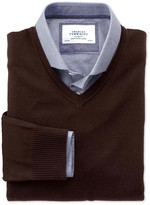 Charles Tyrwhitt Brown merino wool v-neck sweater