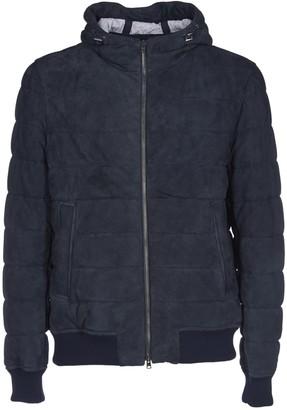 Herno Resort Down Jacket In Blue Suede