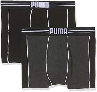 Puma Men's Athletic Blocking Boxer 2P Boy Short, Noir (Black/Anthracite), Pack of 2