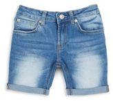 7 For All Mankind Girl's Cuffed Denim Bermuda Shorts