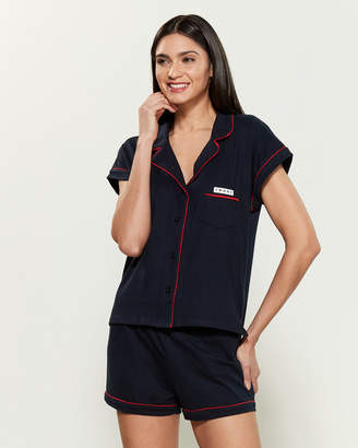 Tommy Hilfiger Two-Piece Short Sleeve Pajama Top & Shorts Set