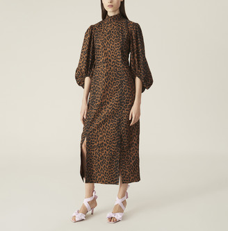 Ganni Leopard Cotton Poplin Dress