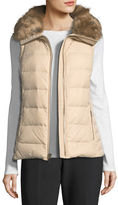 Kate Spade Faux-Fur Packable Puffer Vest With Bow-Detail