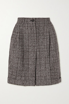 Dolce & Gabbana Pleated Checked Wool-blend Shorts - Gray