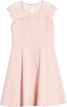 Blush by Us Angels Lace Cap Sleeve Skater Dress