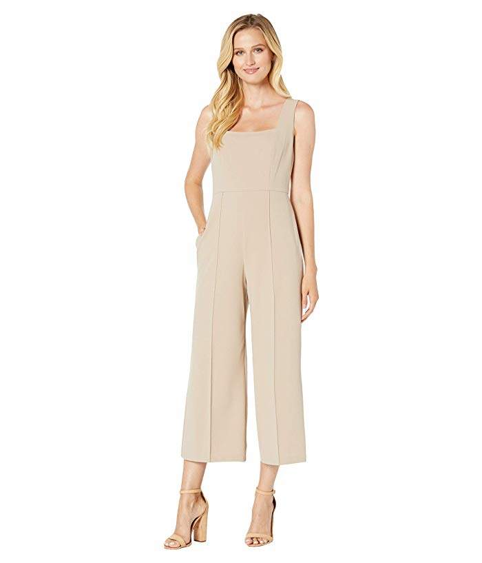 Donna Morgan Squared Neck Cropped Wide Leg Jumpsuit