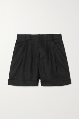 Equipment Boyde Pleated Linen Shorts - Black