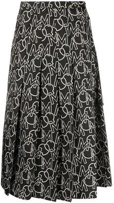 Moncler Logo Print Pleated Skirt