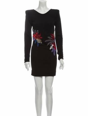 Balmain Bateau Neckline Mini Dress Black