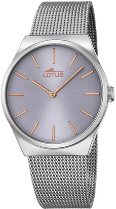 Lotus Unisex Quartz Watch with Grey Dial Analogue Display and Silver Stainless Steel Bracelet 18285/2