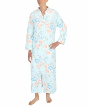 Miss Elaine Plus Size Floral-Print Long Zipper Robe