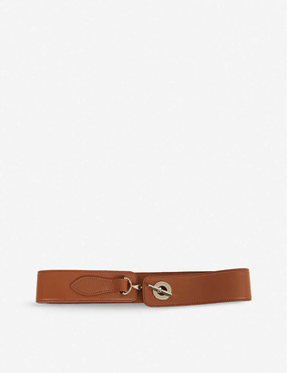 Reiss Chain clasp leather belt