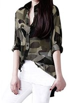 uxcell Lady Buttons Down Closure Point Collar Camouflage Blouse
