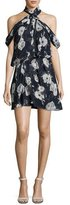 Camilla And Marc Lou Lou Floral Draped Cold-Shoulder Cocktail Dress, Blue