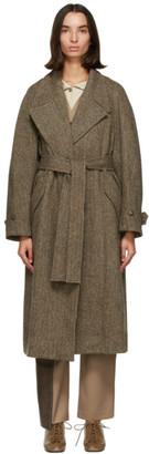 Low Classic Brown Wool Harris Tweed Coat