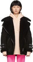 Thumbnail for your product : Acne Studios Black Suede Shearling Aviator Jacket