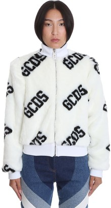 GCDS Bomber In White Polyester
