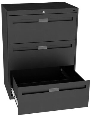 """Tennsco Corp. 3-Drawer Lateral filing cabinet Pull Type: Long Pull, Size: 39.38"""" H x 42"""" W x 17.94"""" D, Finish: Black"""